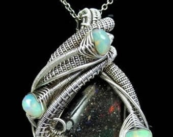 Wire-Wrapped Honduran Black Opal Pendant in Antiqued Sterling Silver with Ethiopian Welo Opals