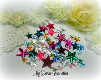 50 Flat Back Star Rhinestones Acrylic Gems for Scrapbooking Cards Mini Albums and Papercrafts Jewelry DIY