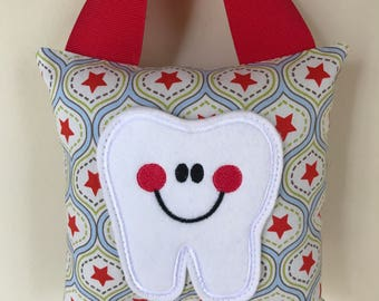 Tooth Fairy Pillow - Red All Stars Pillow with Red Ribbon - Kids Pillow - Kids Gift