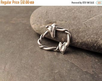 30% OFF Twisted Silver Ring, Sterling Silver Ring, Artisan Handmade Silver Ring, Silver Bracelet Link With Hearts