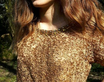 1950s Gold/Bronze Cropped Ribbon Lace Top encrusted with Jewels