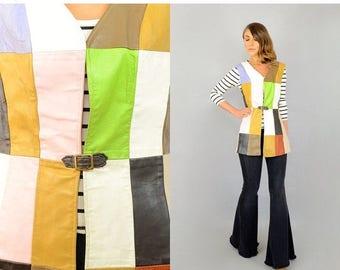 SUMMER SALE 60's Rainbow Leather Patchwork Vest