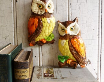 Superior Vintage Pair Lefton Owl Wall Hangings   Set Of Two   1970s   Made In Japan