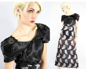 MEMORIAL SALE Vintage 30's Cocktail Dress Sheen Sateen SHEER Brocade Feathers Floor Lenght  // Dresses by TatiTati Style on Etsy