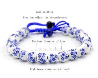 8mm Blue Flower Ceramics Porcelain Beads Tibet Buddhist Wrist Mala Bracelet For Meditation  T2721