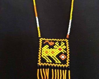 Orange Necklace Huichol Beads Animal motive