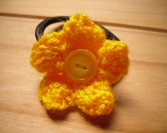 Yellow Knitted Flower Hair Accessory