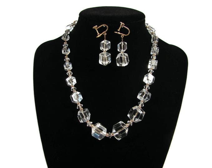 SIMMONS Hexagon Cube Crystal Necklace Matching Earrings