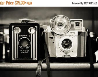 "Camera Print ""A Pair of Kodak Brownies"" Fine Art Photography Still life Photo, Black and White photography Vintage camera print Office art"