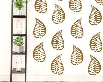 Leaf Wall Decals, Nursery Wall Decor, Girls Bedroom Decor, Leaves Wall Art, Apartment Decor, Dorm Decor, Living Room Decals, Fern decals