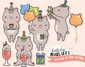 Birthday Clipart Set, Bears Vector Clip Art, Kawaii Graphics Instant Download, Commercial Use, Boys Birthday Party Invitations, Milkshake