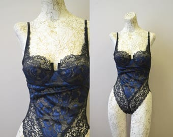 1980s Victoria's Secret Lace and Mesh Bodysuit