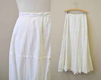 Victorian White Cotton Petticoat with Lace Trim