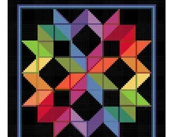 SUMMER SALE Carpenters Wheel inspired by an Amish Quilt Counted Cross Stitch Chart Pattern