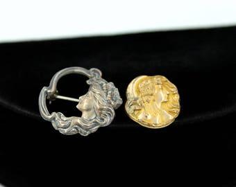 Pair of Art Nouveau Woman Face Scatter Pins