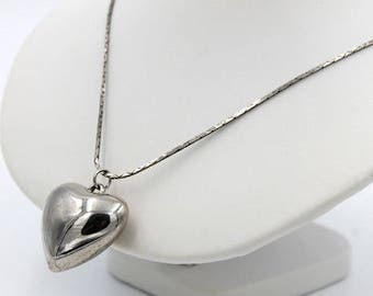 Puffy Heart Pendant on Chain, Marked Korea, ca. 1980s, Vintage Necklaces