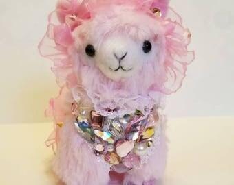 Alpacasso Arpakasso Sweet Pink Decoden Fairy Kei Head Ruffle Alpaca Strap Plushie