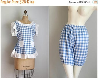 SALE SALE 1950s gingham playsuit - bloomer & top set / blue gingham check bloomers - 1950s beach playsuit / 40s blouse matching top
