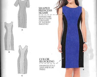 Simplicity Sewing Pattern 1586 Color Blocked Amazing Fit Dress Sizes 10, 12, 14, 16, 18 UNCUT