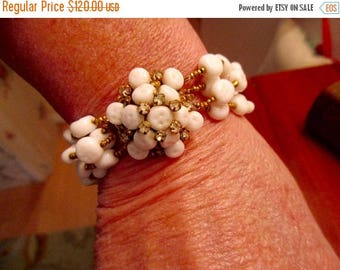 Signed MIRIAM HASKELL! Rare, Iconic Baroque White MILK Glass Cluster Vintage Bracelet W/Large, Domed Clasp and Prong-Set Rhinestones