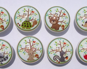 8 FRIENDLY FOREST Animals  Kids boys girls  mtm bedding Dresser Drawer Knob