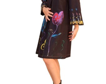 Black linen dress / long tunic/Blouse painted by hand embroidery