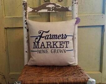 Farmers market pillow, Farmhouse decor