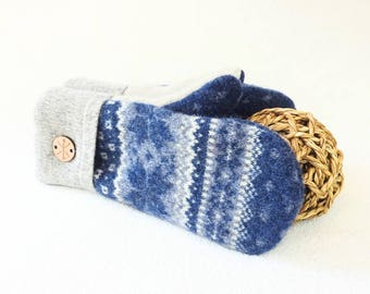 Blue Mittens Cashmere Lined Felted Fair Isle Sweater Wool BLUE & GRAY Nordic Wool Gloves for Men or Women Unisex Gift Under 50 by WormeWoole
