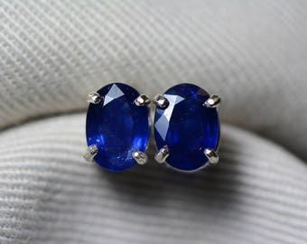 Sapphire Earrings, Blue Sapphire Stud Earrings 1.85 Carat Appraised at 1,475.00, September Birthstone, Certified Sterling Silver Jewellery