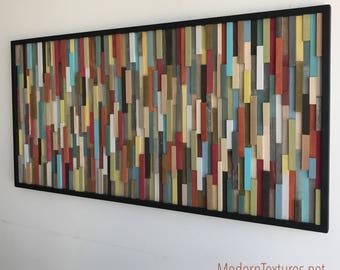 Wood Wall Art - Wood Art Sculpture - Reclaimed Wood Art - Modern Wall Art/Abstract Painting on Wood 25x50