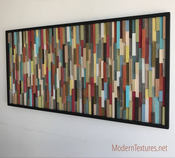 Wood Wall Art - Wood Art Sculpture - Reclaimed Wood Art - Modern Wall Art/Abstract Painting on Wood 25x50