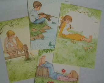 4 Vintage Current Children - Fold A Notes - Linda K Powell Illustrations - Cute