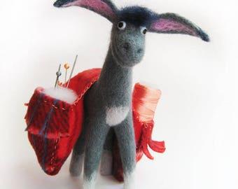 "A cushion for needles - ""Funny donkey"""