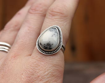Dendrite Agate Ring Stone Ring Sterling Silver Gift Idea Gift for Her Everyday Ring Witchy Jewelry Holiday Gift Dendrite Opal Dendrite Stone