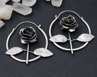 Everlasting Rose Earrings Flower Gift Sterling Silver Unique Sculptural Art Jewelry Handmade One of a Kind Anniversary Gift Unique Earring