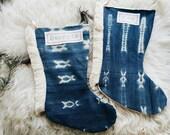 Vintage Mudcloth Christmas Stockings with Fringe - Boho Luxe Christmas Décor - Mudcloth Bohemian Stocking