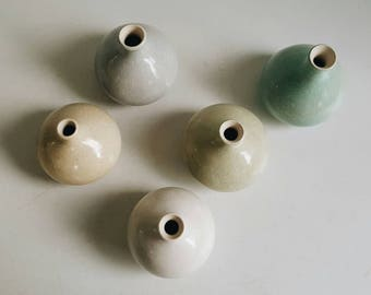 Vintage Handmade Set of 5 Porcelain Ceramic Vases with Crackle Finish - Pastel Beachy Colors - Modern Minimalist Pottery