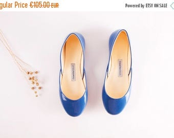Summer Sale Blue Patent Leather Ballet Flats   Ballerina Shoes   Something Blue   Ballet Pumps   Powder Blue.....Ready to Ship