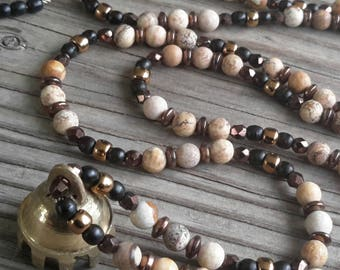Picture Jasper and Brass Tibetan Bell Necklace