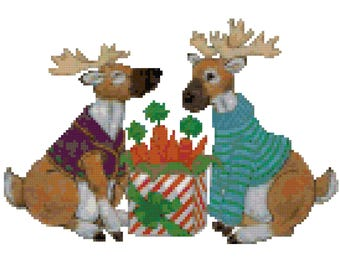 A Reindeers Gift Cross Stitch Pattern