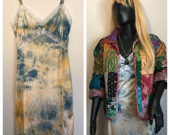 Hand dyed unworn vintage dead stock knee length Slip Dress in tangerine/teal
