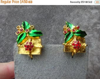 25% Off Vintage Christmas Package Earrings, Clip On