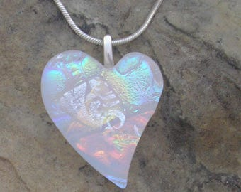 White Heart Pendant Fused Dichroic Glass Heart Necklace