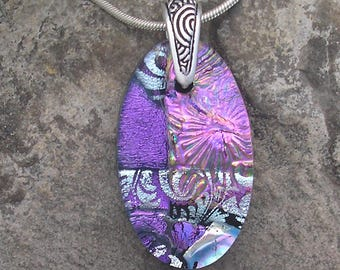 Pink and Purple Necklace Dichroic Glass Pendant Dichroic Jewelry