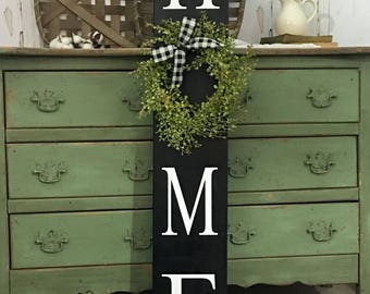 Home Sign with Wreath. Tall Porch sign. Home Porch Sign Black welcome sign. Welcome sign. Vertical Home Sign. Brown. White.