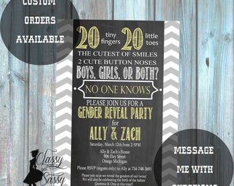 Twins Gender Reveal Invitation, Twins Invitation, Twins Baby Reveal 186