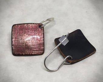 Opalescent pink enamel square earrings