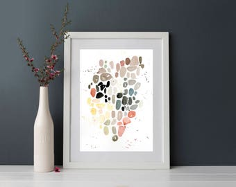 Sea Glass watercolor print