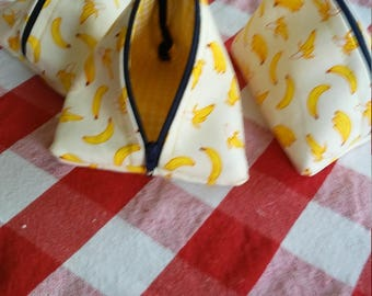 Triangle Zipper Pouch   , coin purse, unique gift. Yellow Pattern