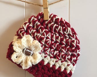 Oklahoma Sooners inspired baby hat  - baby photo prop - sports photo prop  - chunky baby hat - made to order